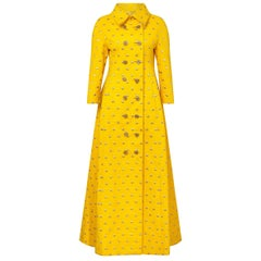 1960s James Galanos Yellow Silk and Gold Embroidered Dress Coat