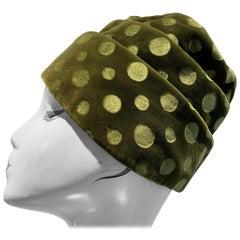 1960s Jan Leslie Olive Green Polka Dot Velvet Pleated Turban-Style Toque Hat