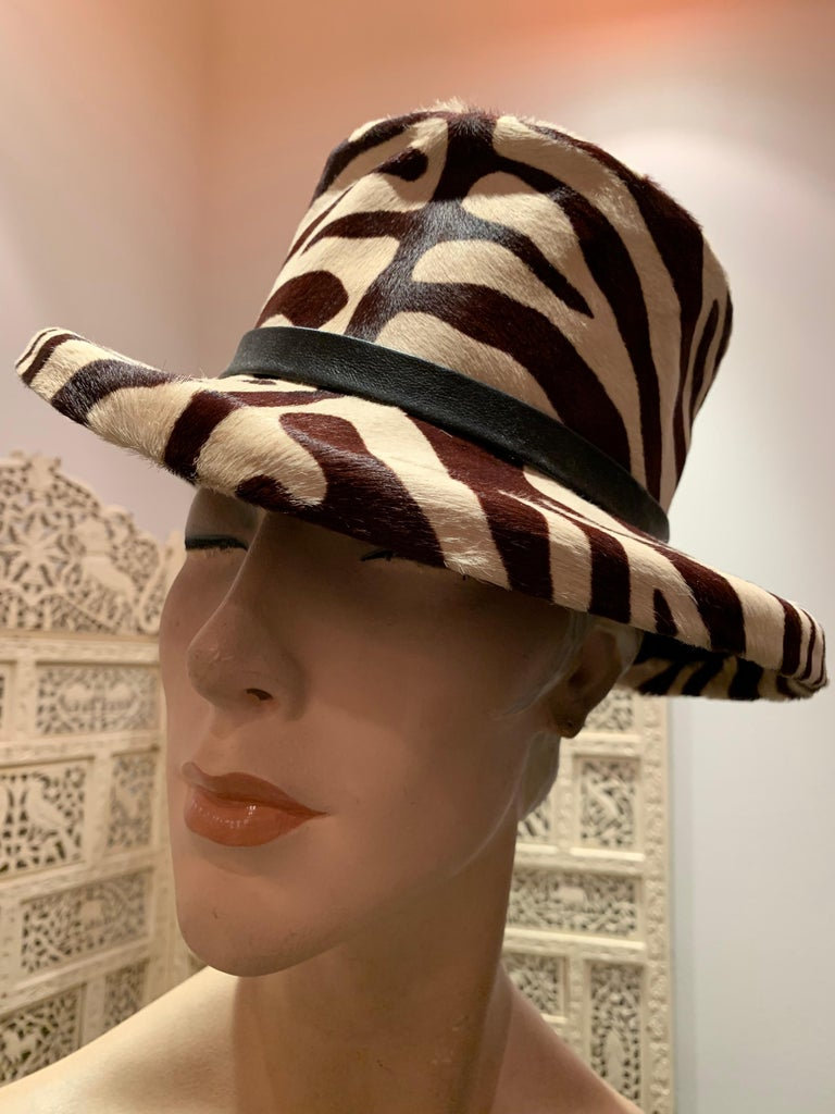 1960s Janet Leitner Mod zebra-stenciled calfskin bucket hat with a flat structured crown. Hide is molded over a fur felt base for structure. Knotted leather band. Fantastic condition.