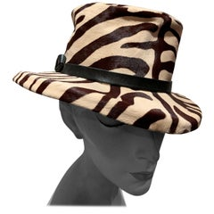 1960s Janet Leitner Mod Zebra Stenciled Calfskin Bucket Hat W/ Structured Crown