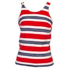 1960S JANZTEN Red, White & Blue Striped Cotton Top