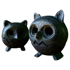 1960s Japan Cast Iron Owl Bird Lantern Incense Candleholder Mid-Century Brutal