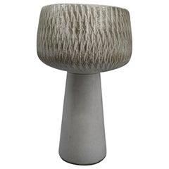 1960s Japanese Modernist Ikebana Ceramic Pottery Sgraffito Pedestal Vase Vessel