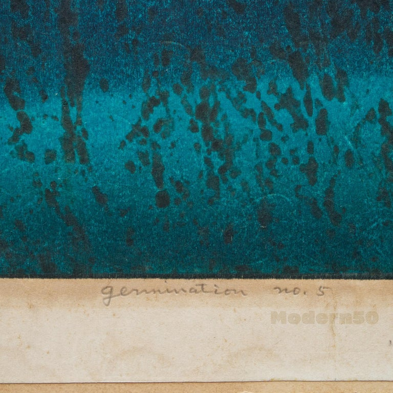 1960s Japanese Woodblock Abstract Hideo Hagiwara Germination Nº 5 1965 187/210 In Fair Condition For Sale In Washington, DC