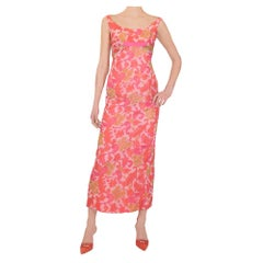 1960s Jean Allen London Psychedelic Floral Print Evening Dress