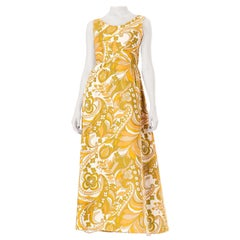 1960S Jean Allen Yellow Cotton Pucci Style Psychedelic Printed Maxi Dress , Ful