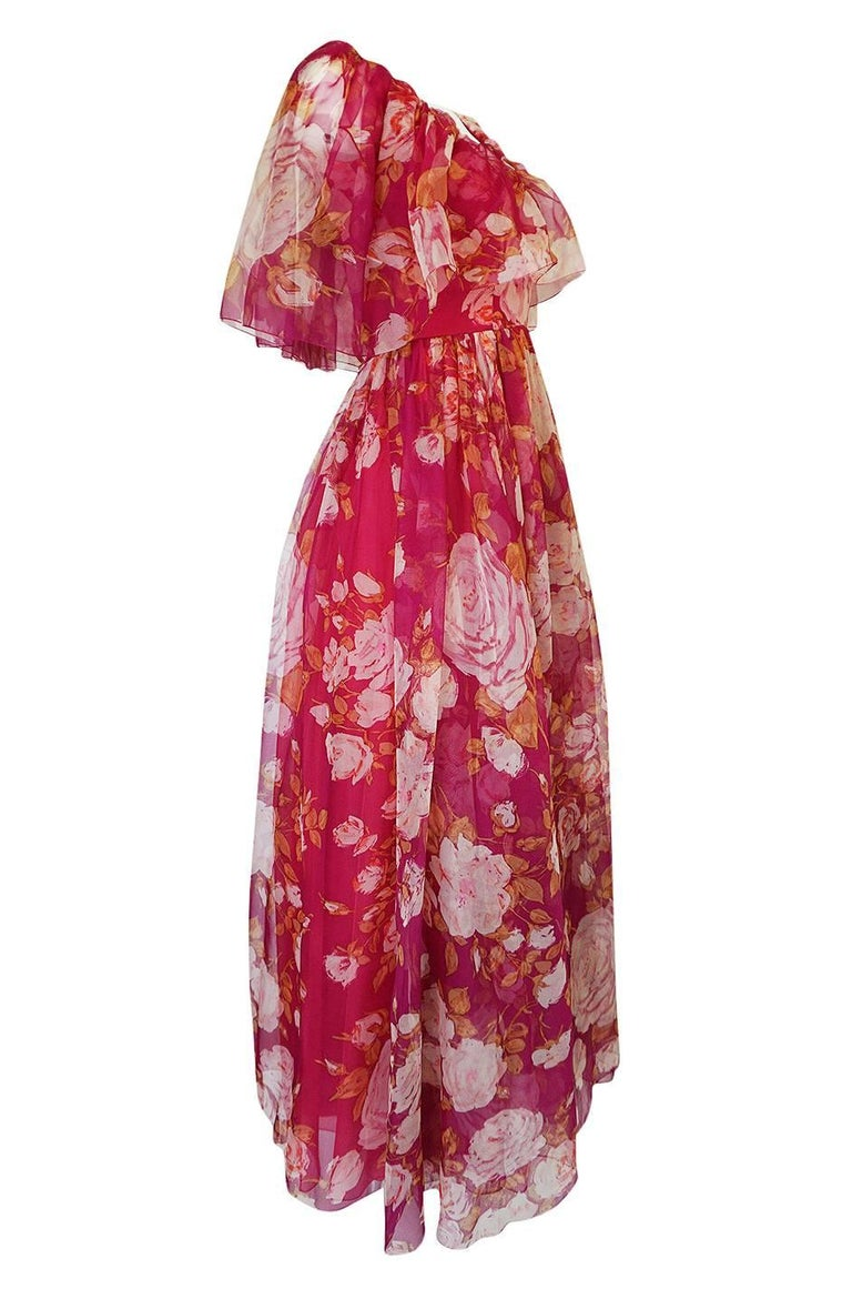 Pink 1960s Jean Louis Floral Silk Chiffon Dress With Caped Neckline For Sale