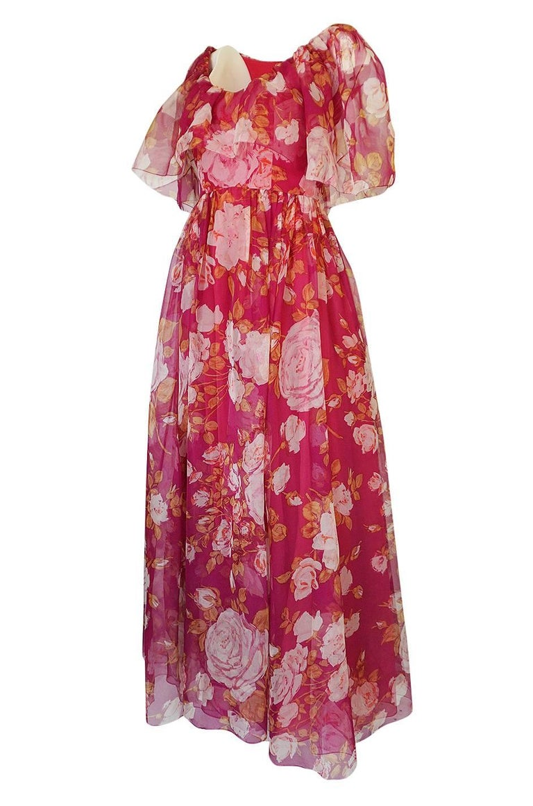 1960s Jean Louis Floral Silk Chiffon Dress With Caped Neckline In Excellent Condition For Sale In Rockwood, ON
