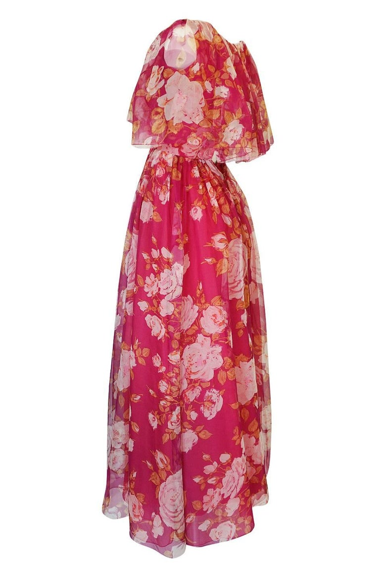 Women's 1960s Jean Louis Floral Silk Chiffon Dress With Caped Neckline For Sale
