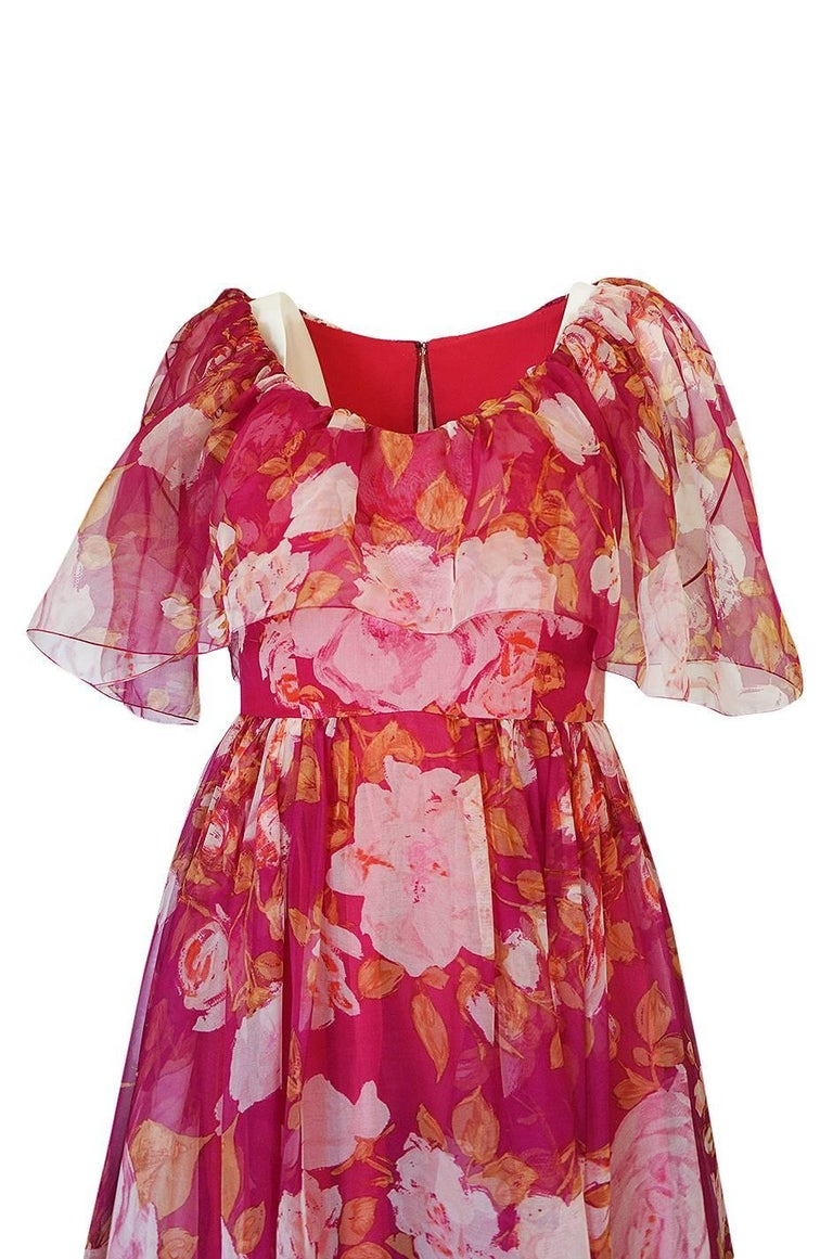 1960s Jean Louis Floral Silk Chiffon Dress With Caped Neckline For Sale 1