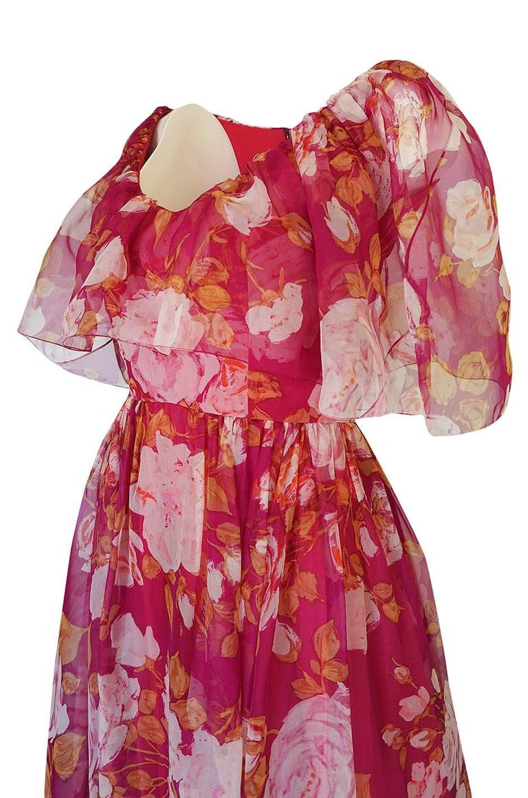 1960s Jean Louis Floral Silk Chiffon Dress With Caped Neckline For Sale 2