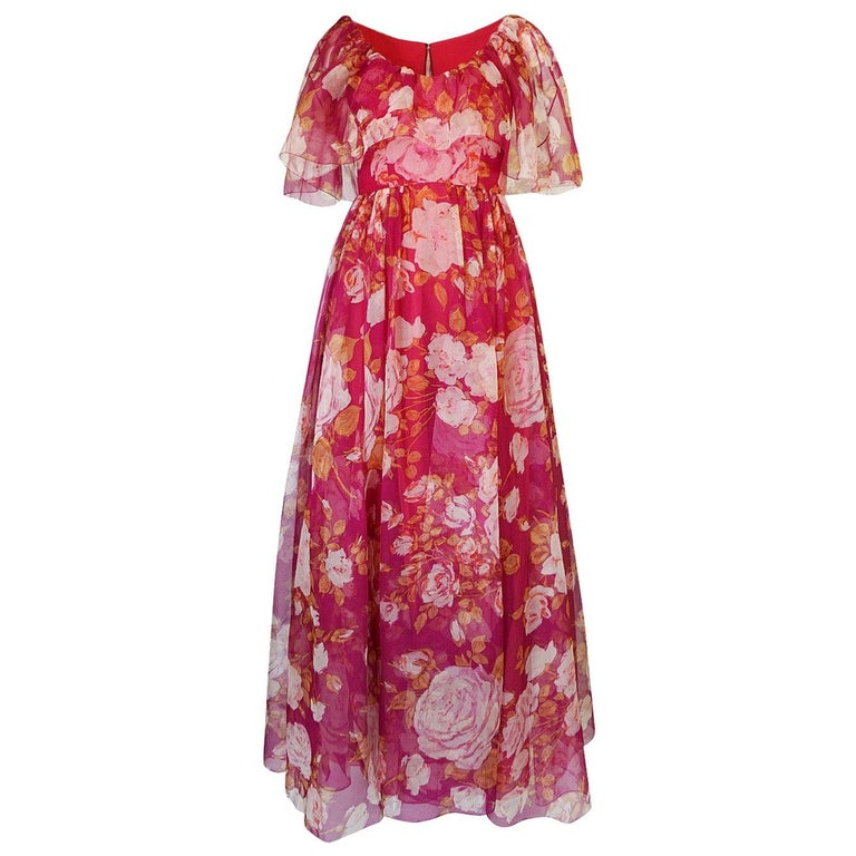1960s Jean Louis Floral Silk Chiffon Dress With Caped Neckline For Sale