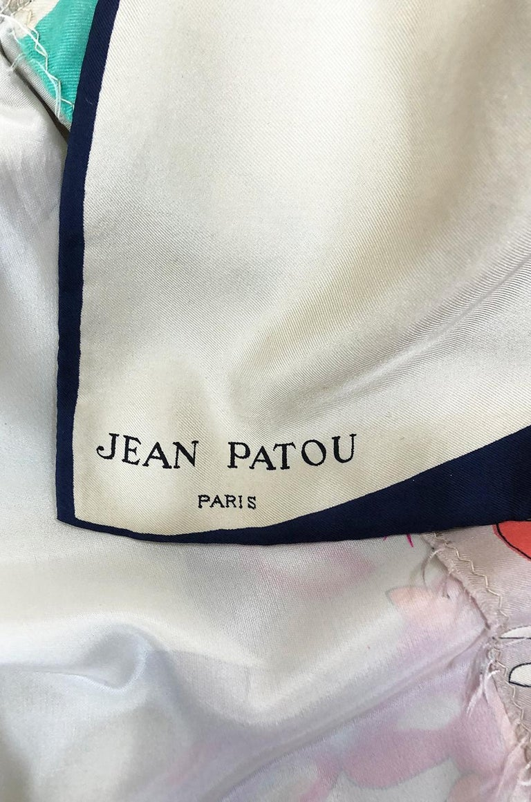 1960s Jean Patou Couture Signed Scarf Print Silk Twill Mini Dress For Sale 7