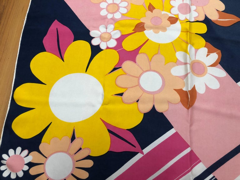 Women's 1960s Jean Patou Daisy and Stripes Silk Scarf 29x30 For Sale