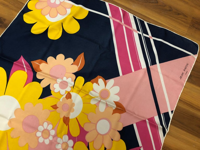 1960s Jean Patou Daisy and Stripes Silk Scarf 29x30 For Sale 2