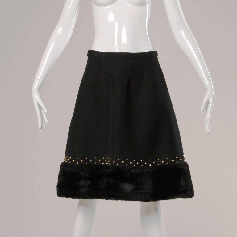 Black 1960s Jean Patou Vintage Wool Jacket + Skirt Suit Ensemble with Faux Fur Trim For Sale