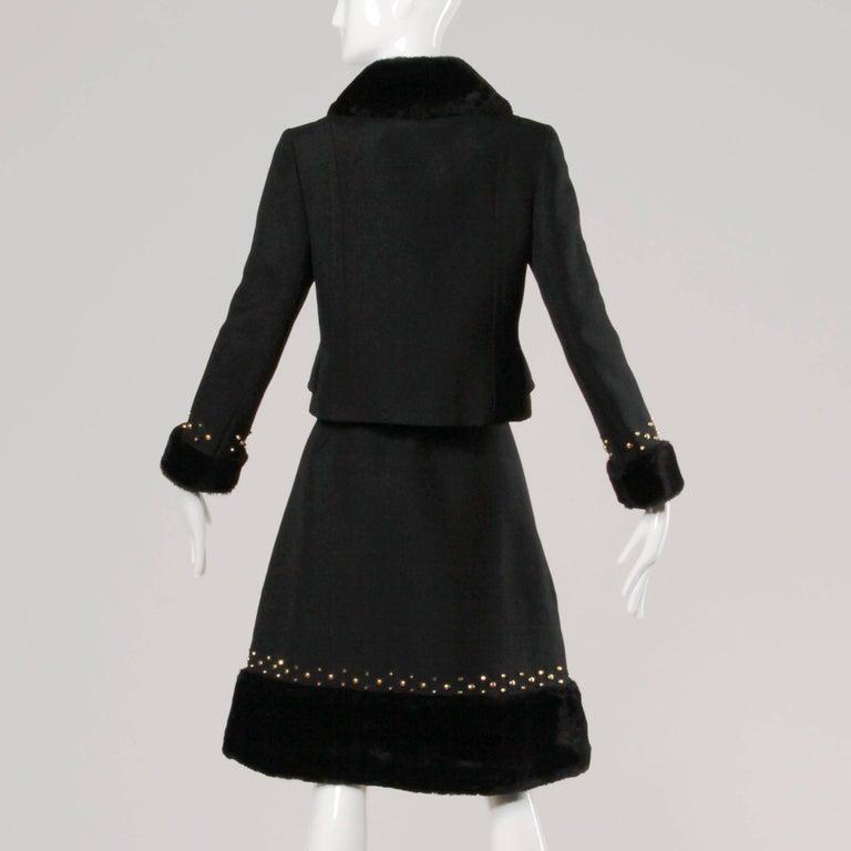 Women's 1960s Jean Patou Vintage Wool Jacket + Skirt Suit Ensemble with Faux Fur Trim For Sale