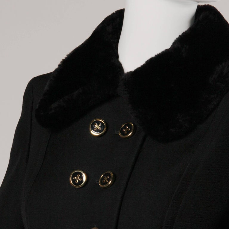 1960s Jean Patou Vintage Wool Jacket + Skirt Suit Ensemble with Faux Fur Trim For Sale 1