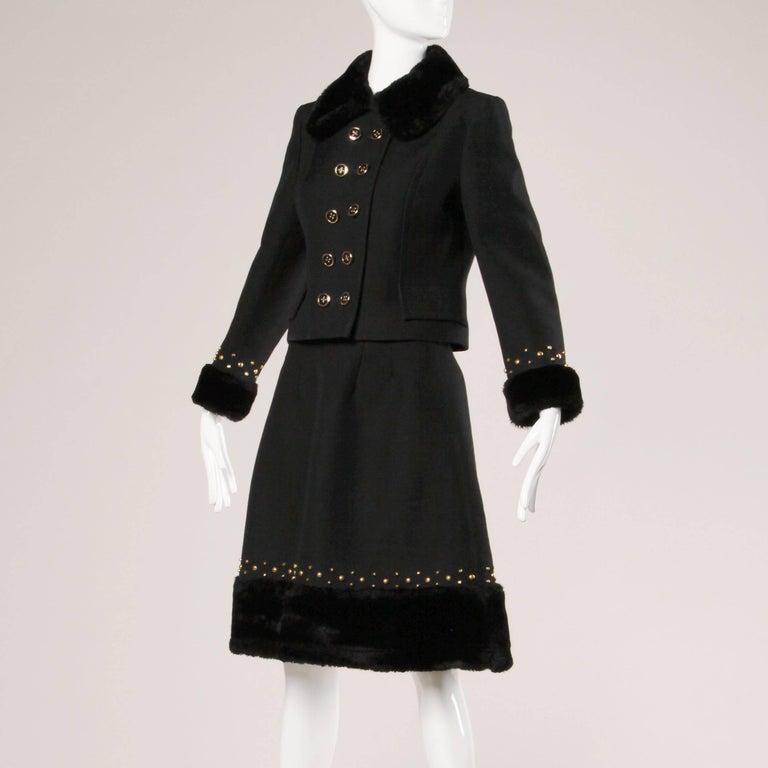 1960s Jean Patou Vintage Wool Jacket + Skirt Suit Ensemble with Faux Fur Trim For Sale 2
