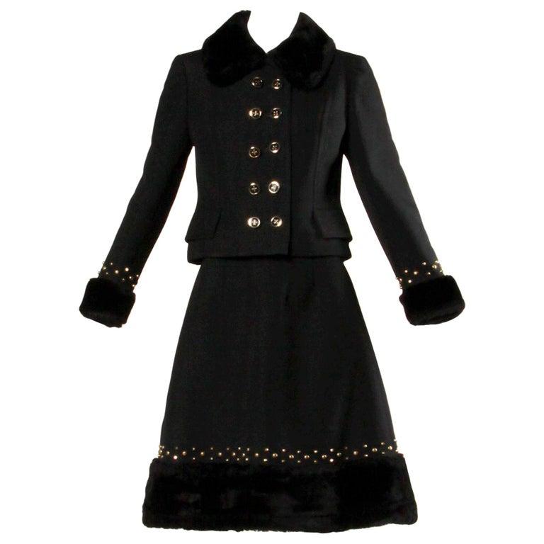 1960s Jean Patou Vintage Wool Jacket + Skirt Suit Ensemble with Faux Fur Trim For Sale