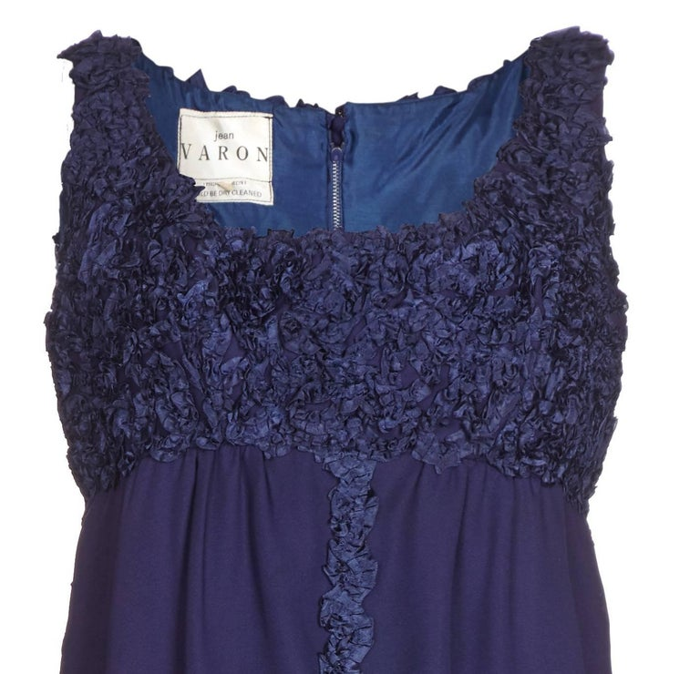 1960s Jean Varon Midnight Blue Evening Dress In Excellent Condition For Sale In London, GB