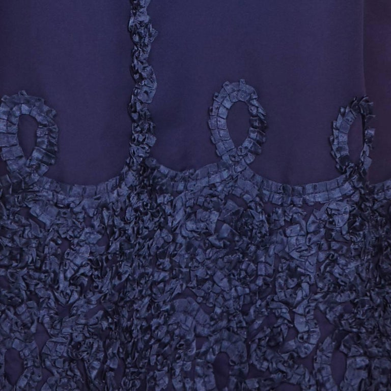 Women's 1960s Jean Varon Midnight Blue Evening Dress For Sale