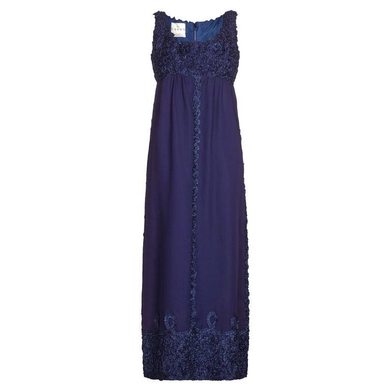 1960s Jean Varon Midnight Blue Evening Dress For Sale