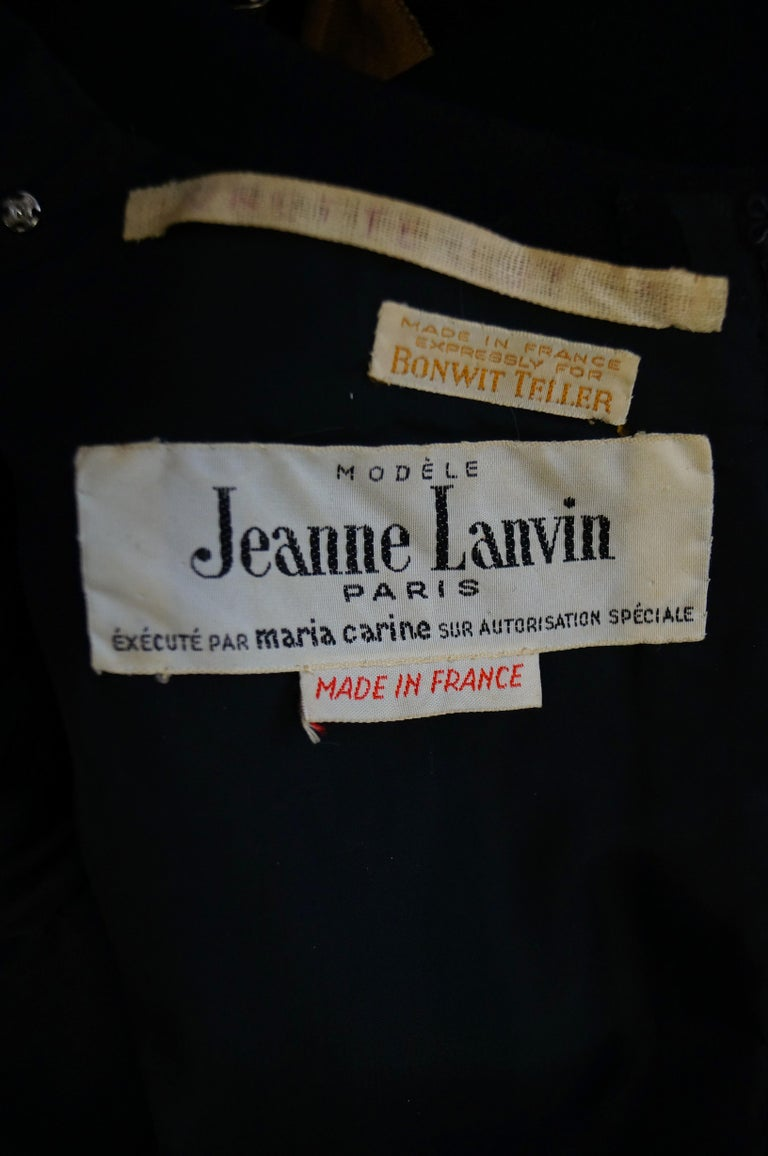 1960s Jeanne Lanvin Designed Black Wool Mod Dress with Yellow Grosgrain Buckles For Sale 6