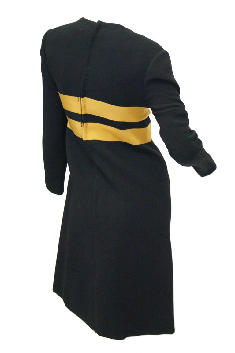 1960s Jeanne Lanvin Designed Black Wool Mod Dress with Yellow Grosgrain Buckles In Excellent Condition For Sale In Houston, TX