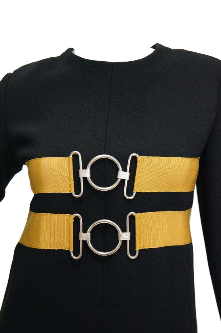 1960s Jeanne Lanvin Designed Black Wool Mod Dress with Yellow Grosgrain Buckles For Sale 1