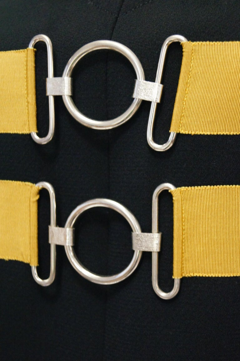 1960s Jeanne Lanvin Designed Black Wool Mod Dress with Yellow Grosgrain Buckles For Sale 2