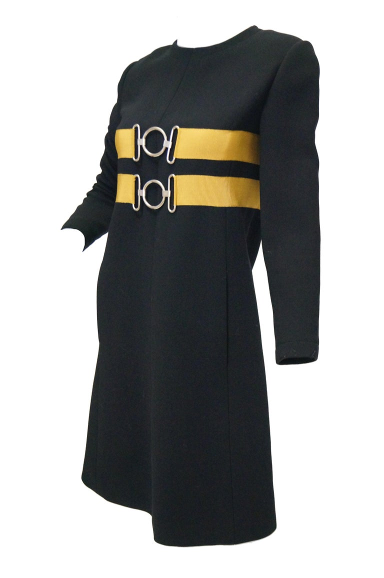 1960s Jeanne Lanvin Designed Black Wool Mod Dress with Yellow Grosgrain Buckles For Sale 3