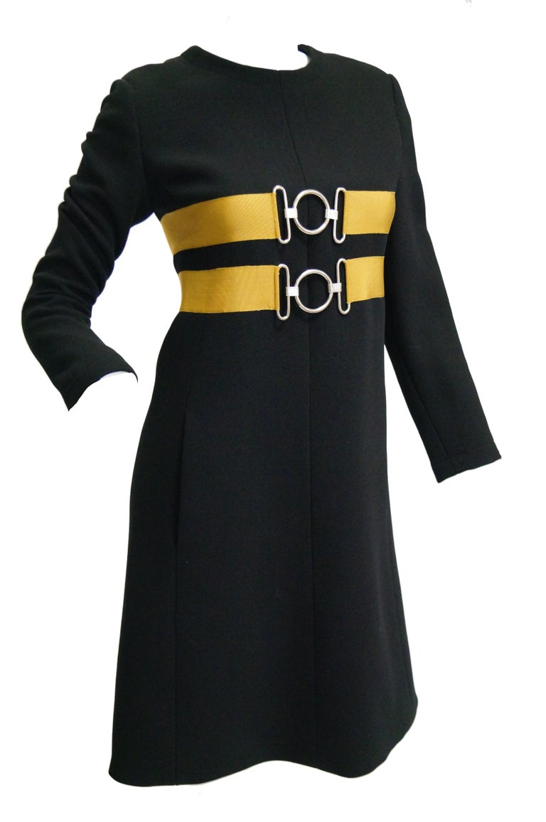 1960s Jeanne Lanvin Designed Black Wool Mod Dress with Yellow Grosgrain Buckles For Sale 4