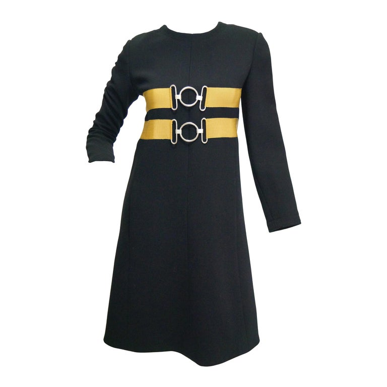 1960s Jeanne Lanvin Designed Black Wool Mod Dress with Yellow Grosgrain Buckles For Sale