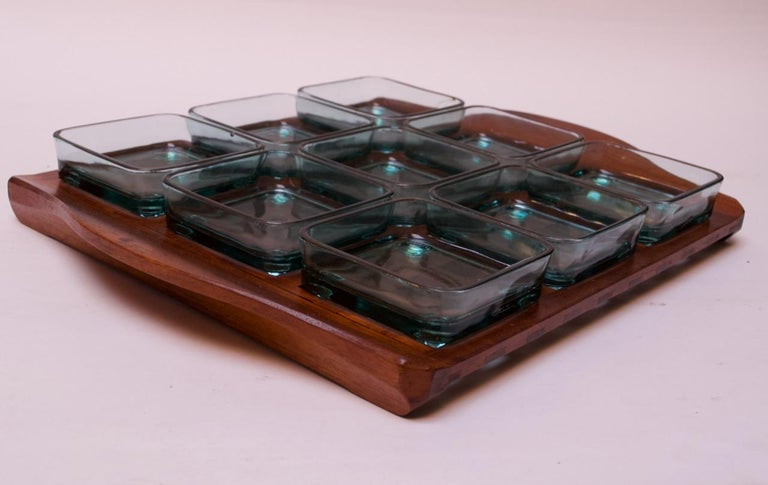 Mid-Century Modern 1960s Jens Quistgaard Dansk Teak Serving Tray with Glass Inserts New in Box For Sale