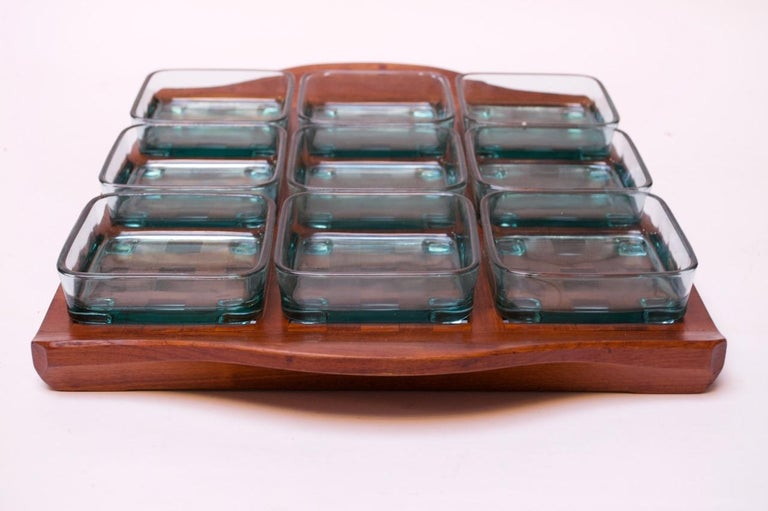 Danish 1960s Jens Quistgaard Dansk Teak Serving Tray with Glass Inserts New in Box For Sale