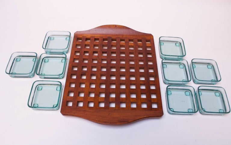 1960s Jens Quistgaard Dansk Teak Serving Tray with Glass Inserts New in Box In Good Condition For Sale In Brooklyn, NY