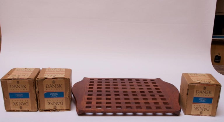 Mid-20th Century 1960s Jens Quistgaard Dansk Teak Serving Tray with Glass Inserts New in Box For Sale