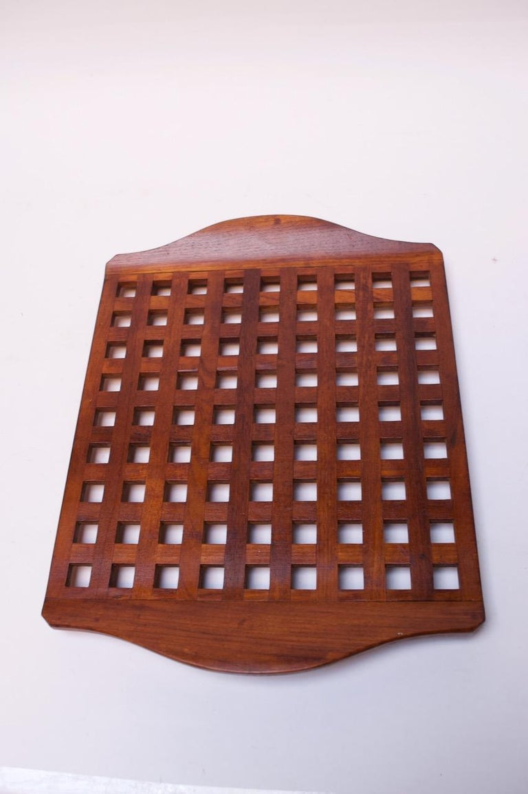 1960s Jens Quistgaard Dansk Teak Serving Tray with Glass Inserts New in Box For Sale 1