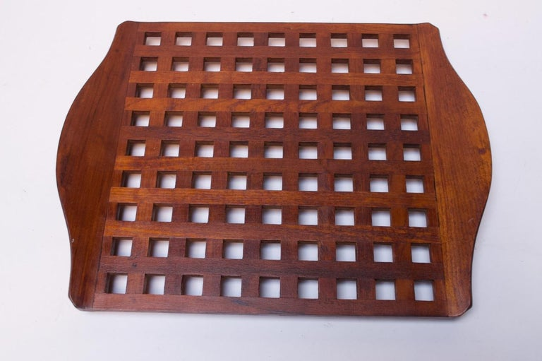 1960s Jens Quistgaard Dansk Teak Serving Tray with Glass Inserts New in Box For Sale 2