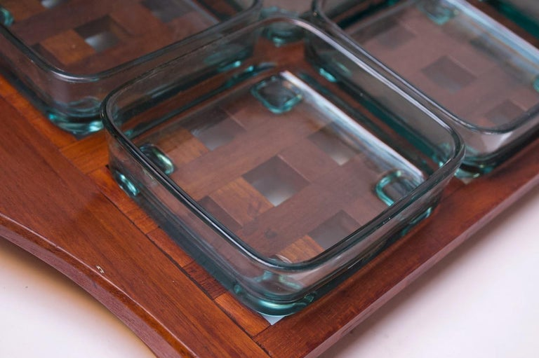 1960s Jens Quistgaard Dansk Teak Serving Tray with Glass Inserts New in Box For Sale 3