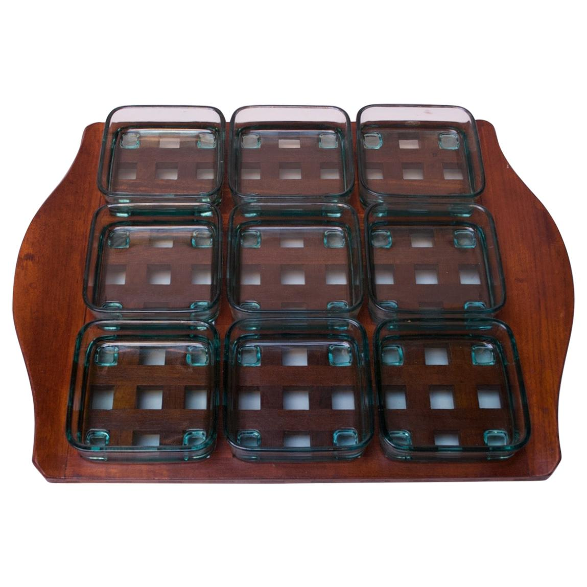 1960s Jens Quistgaard Dansk Teak Serving Tray with Glass Inserts New in Box