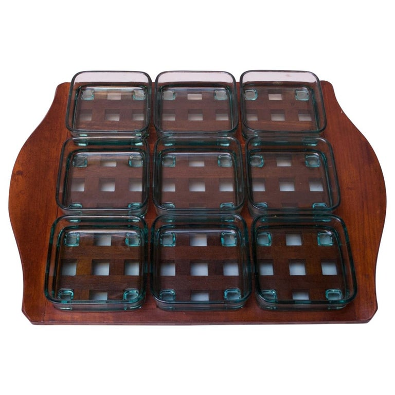 1960s Jens Quistgaard Dansk Teak Serving Tray with Glass Inserts New in Box For Sale