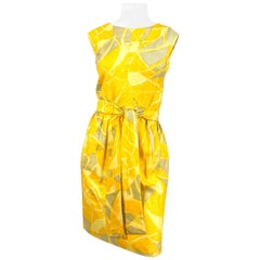 1960s Jerry Silverman Yellow Abstract Printed Sheath Dress