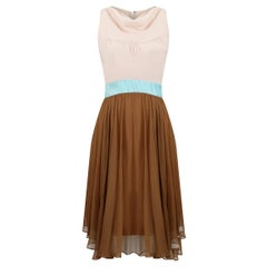 1960s Jeunesse Nude, Tan and Turquoise Chiffon Dress With Cowl Neckline