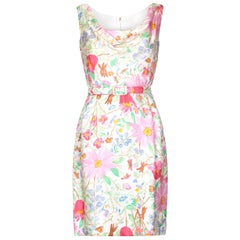 1960s Jeunesse Silk Floral Printed Dress with Matching Belt