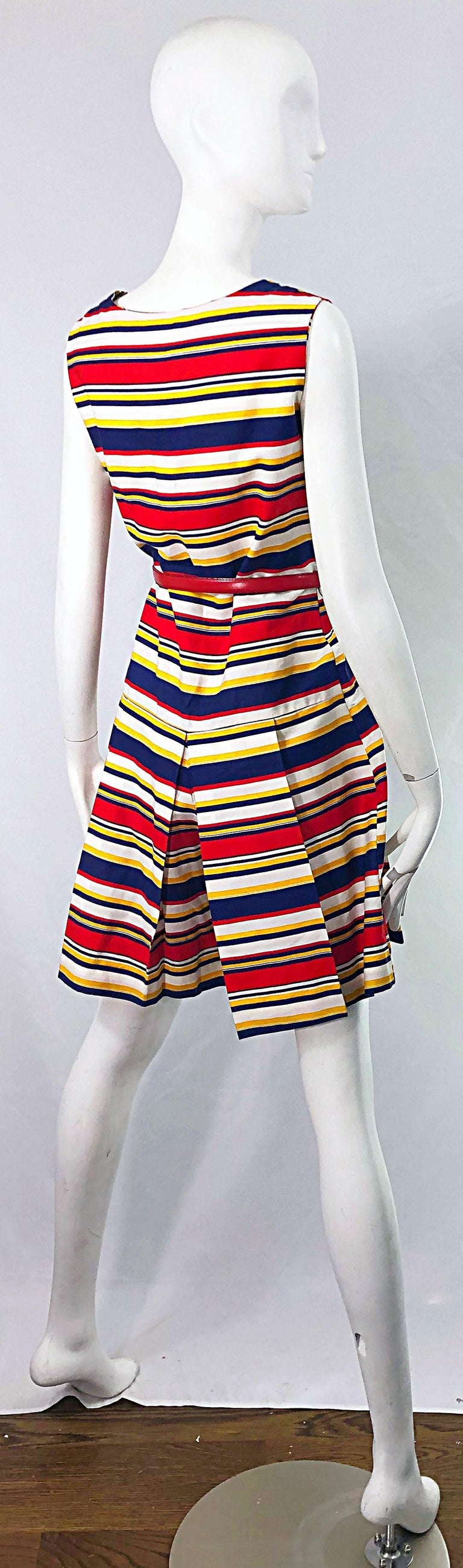 1960s Joan Curtis Nautical Romper Cotton Stripes Belt Cotton One Piece Jumpsuit In Excellent Condition For Sale In Chicago, IL