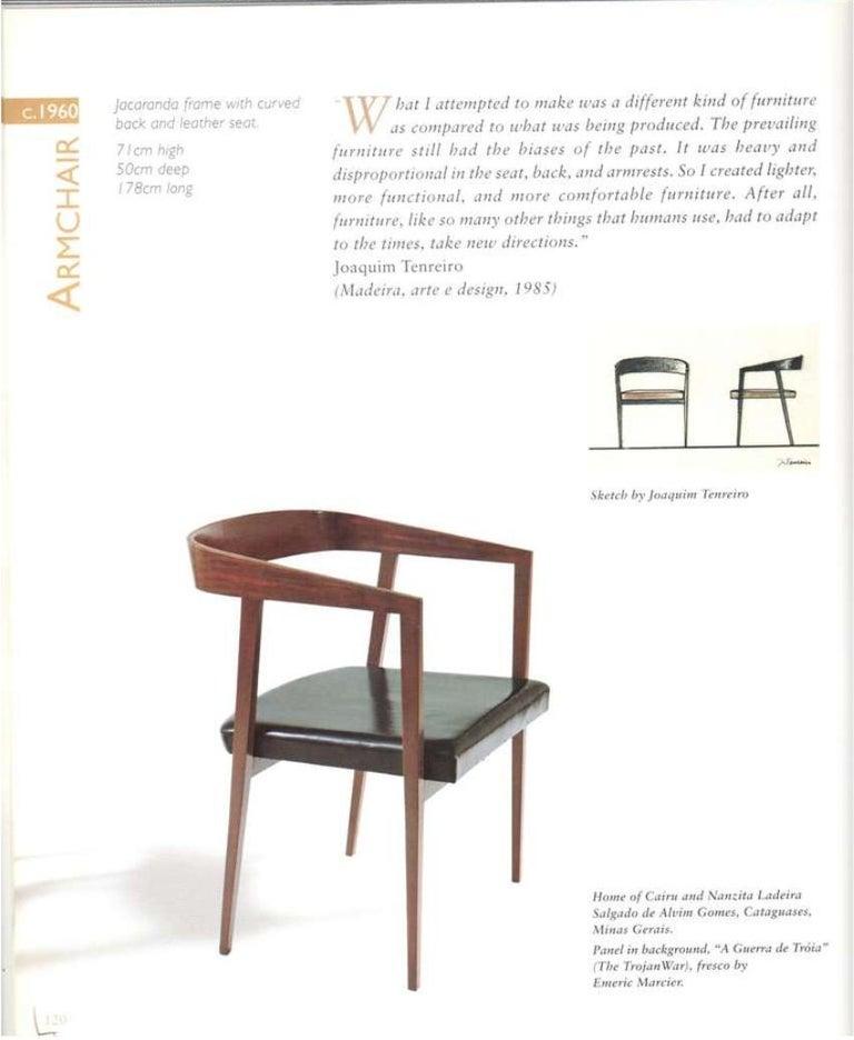 1960s Joaquim Tenreiro Brazilian Dining Chairs in Rosewood Set of Nine  For Sale 1