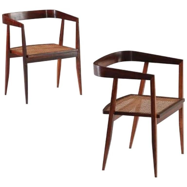 1960s Joaquim Tenreiro Brazilian Dining Chairs in Rosewood Set of Nine  For Sale