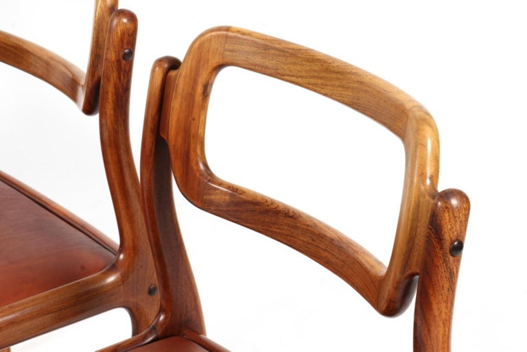 Danish 1960s Johannes Andersen Five Dining Chairs for Uldum Møbelfabrik, Rosewood For Sale